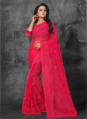 Wedding Wear Rani Net Embroidery Work Saree