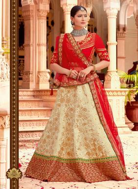 Wedding Wear Red Jacqaurd Heavy Embroidery Work Lehenga Choli