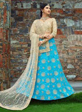 Wedding Wear Sky Blue Art Silk Embroidery Work Lehenga Choli