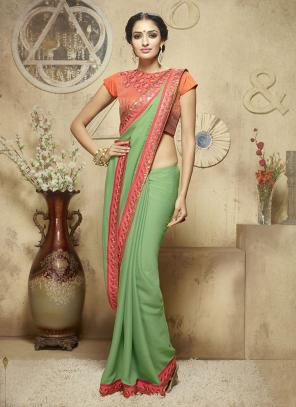 Bedazzling Green Lace Border Work Diwali Special Designer Saree