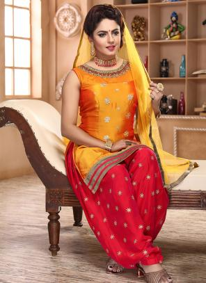 Festival Wear Golden And Red Hand Work Satin Silk Readymade Patiyala Suit