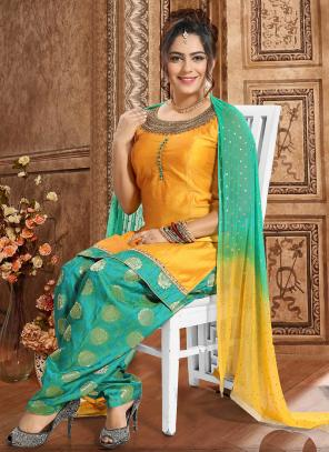 Festival Wear Golden Hand Work Chanderi Readymade Patiyala Suit