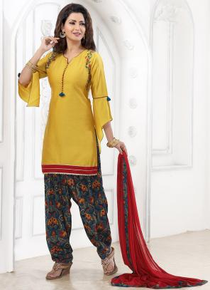 Festival Wear Mustard Katha Work Cotton Readymade Patiyala Suit