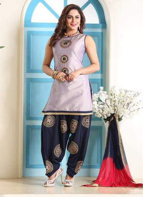 Festival Wear Steel Grey Hand Work Art Silk Readymade Patiyala Suit