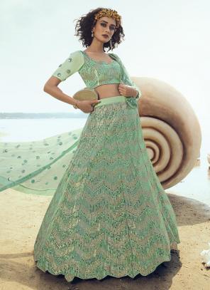 Party Wear Green Net Sequins Work Lehenga Choli