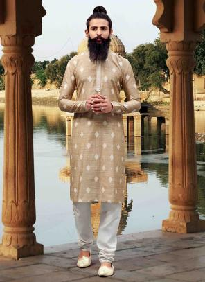 Viscose Cream Festival Wear Weaving designer trendy Kurta Pajama
