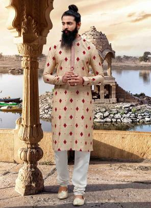 Weaving Cream Viscose Festival Wear New Look Stylish Kurta Pajama