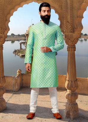 Light Green Jacquard Festival Wear Weaving Kurta Pajama