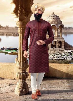 Maroon Jacquard Festival Wear Weaving Kurta Pajama