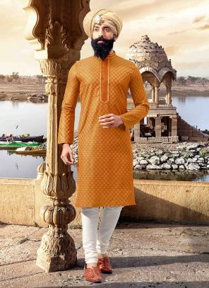 Orange Jacquard Festival Wear Weaving Kurta Pajama