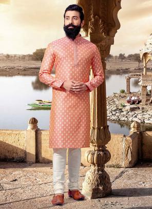 Festival Wear Pink Jacquard Weaving Kurta Pajama