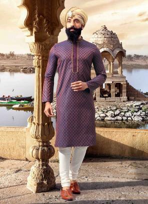 Purple Jacquard Festival Wear Weaving Kurta Pajama
