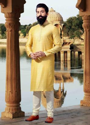 Festival Wear Light Yellow Jacquard Weaving Kurta Pajama