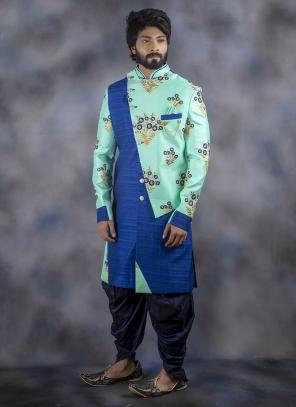 Aqua Jacquard Wedding Wear Weaving Dhoti Sherwani