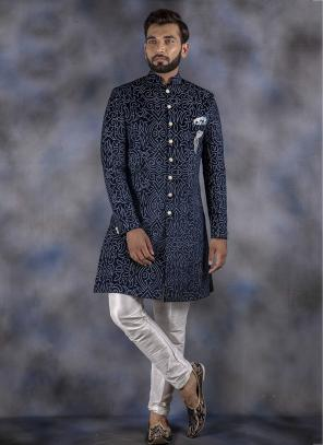 Blue Imported Wedding Wear Weaving Sherwani