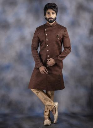 Brown Jacquard Wedding Wear Weaving Sherwani
