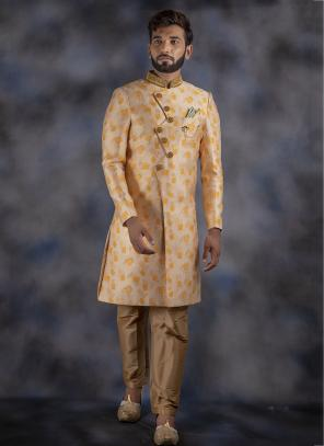 Cream Jacquard Designer Wedding Wear Latest Weaving Sherwani