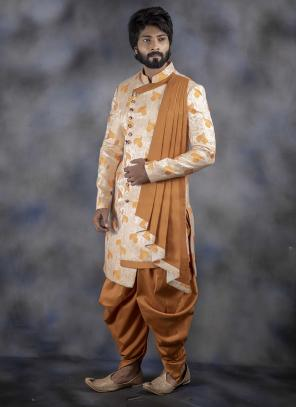 Cream Jacquard Indo Western Wedding Wear Weaving Sherwani