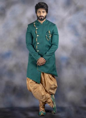 Green Jacquard Wedding Wear Weaving Dhoti Sherwani