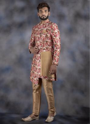Multi Color Jacquard Wedding Wear Weaving Sherwani
