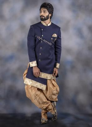 Navy Blue Imported Wedding Wear Weaving Dhoti Sherwani