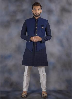 Navy Blue Imported Wedding Wear Weaving Sherwani