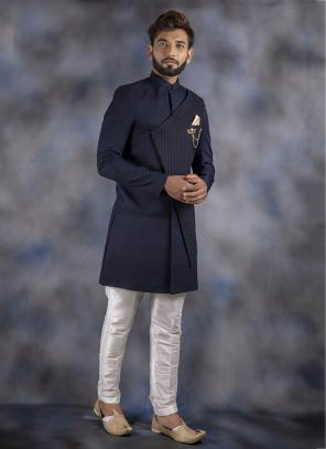 Navy Blue Jacquard Wedding Wear Weaving Sherwani