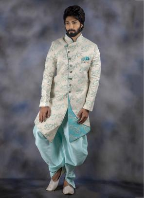 Off White Imported Wedding Wear Weaving Sherwani
