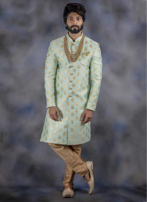 Pista Green Jacquard Wedding Wear Weaving Sherwani
