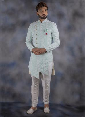 Wedding Wear Sky Blue Jacquard Weaving Sherwani