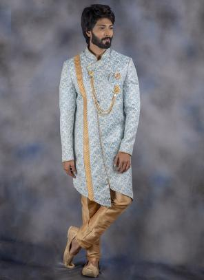 Sky Blue Jacquard Wedding Wear Weaving Sherwani