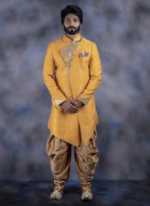 Yellow Imported Wedding Wear Weaving Dhoti Sherwani
