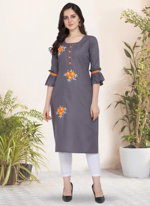 Daily Wear Hand Work Cotton Grey Kurti