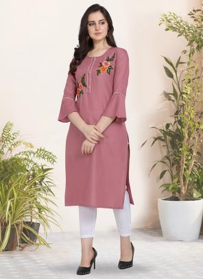 Daily Wear Hand Work Cotton Pink Kurti