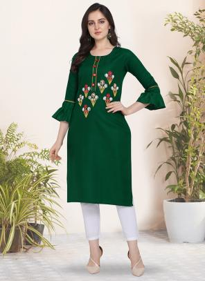 Office Wear Hand Work Cotton Green Kurti