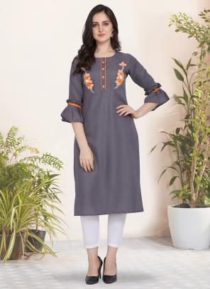 Office Wear Hand Work Cotton Grey Kurti