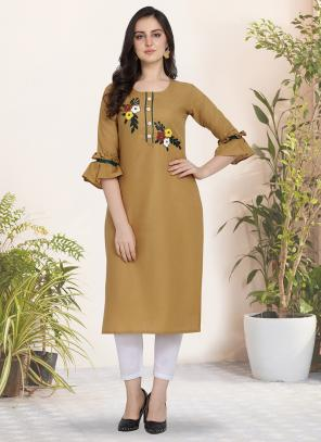 Regular Wear Hand Work Cotton Beige Kurti