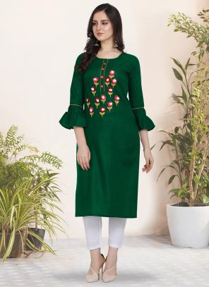 Regular Wear Hand Work Cotton Green Kurti