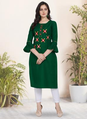 Regular Wear Hand Work Cotton Silk Green Kurti