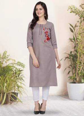 Regular Wear Hand Work Cotton Light Grey Kurti
