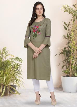 Regular Wear Hand Work Cotton Olive Green Kurti