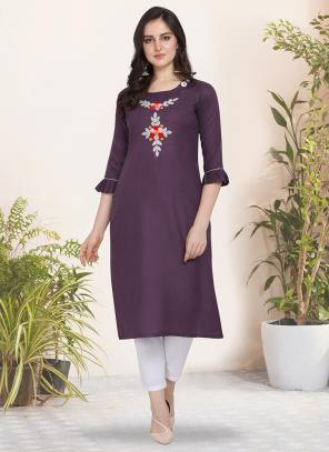 Regular Wear Hand Work Cotton Purple Kurti