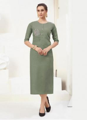 Office Wear Embroidery Work Cotton Green Kurti