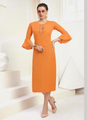 Office Wear Embroidery Work Cotton Mustard Kurti