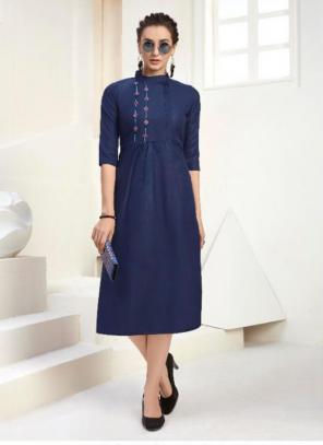 Office Wear Embroidery Work Cotton Navy Blue Kurti