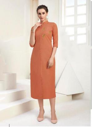 Office Wear Embroidery Work Cotton Orange Kurti