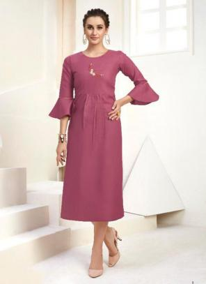Office Wear Embroidery Work Cotton Pink Kurti