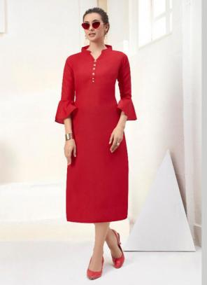Office Wear Embroidery Work Cotton Red Kurti