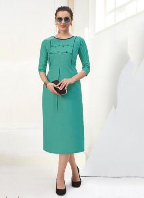 Office Wear Embroidery Work Cotton Teal Kurti