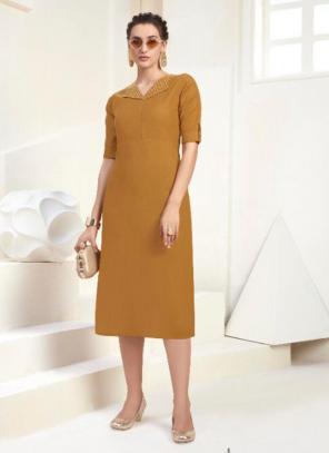 Office Wear Embroidery Work Cotton Yellow Kurti